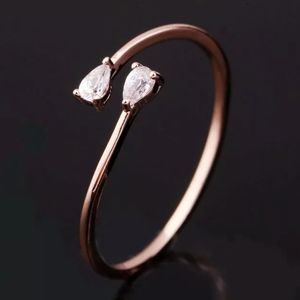 NEW ROSE GOLD PLATED DIAMOND PEAR RESIZABLE RING